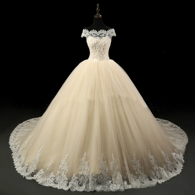 Champagne Lace Bridal Gowns Off Shoulder Boat Neck Church Puffy ...