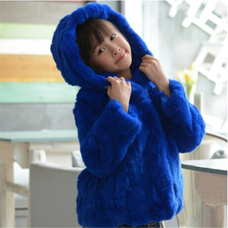 Fashion Children's Real Rabbit Fur Coat Winter Warm Girls Warm Thick Short Coat Full Sleeve Outerwear Clothing Hooded Coats C#08 winter kids rex rabbit fur coats children warm girls rabbit fur jackets fashion thick outerwear clothes