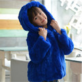 Fashion Children's Real Rabbit Fur Coat  Winter Warm Girls Warm Thick Short Coat Full Sleeve Outerwear Fur Hooded Coats C#08