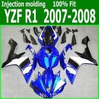АБС-пластик Обтекатели для Yamaha YZF R1 07 08 (синий белый линий) 2007 2008 Бесплатная доставка Инъекции обтекатель комплект lx11