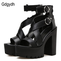 Gdgydh Fashion Solid Platform Women Sandals Summer Shoes Open Toe Rome Style High Heels Fashion Buckle