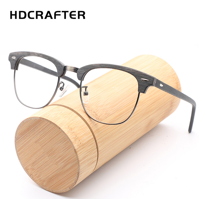 hdcrafter vintage optical wood glasses frame with clear lens men women half wooden reading eyeglasses frame - Wood Glasses Frames