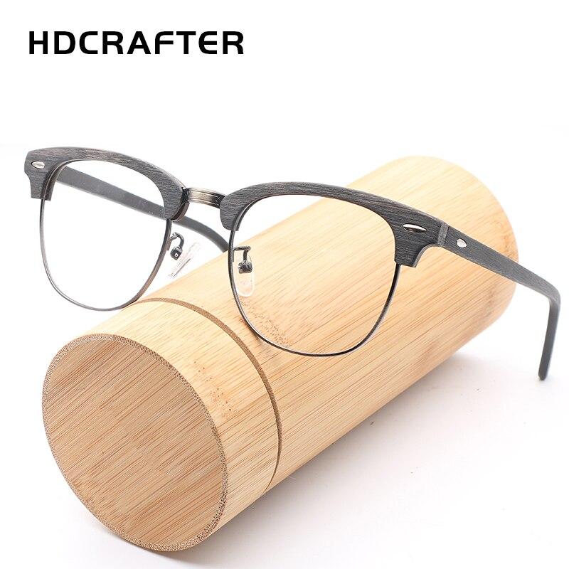 HDCRAFTER Vintage Optique Bois Lunettes Cadre avec Lentille Claire Hommes Femmes Demi En Bois Lecture Lunettes Cadre oculos de grau