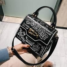 2019 Fashion Graffiti Women Handbag PU Leather Small Flap Bag Luxury Crossbody Bag For Women Evening Clutch Purse