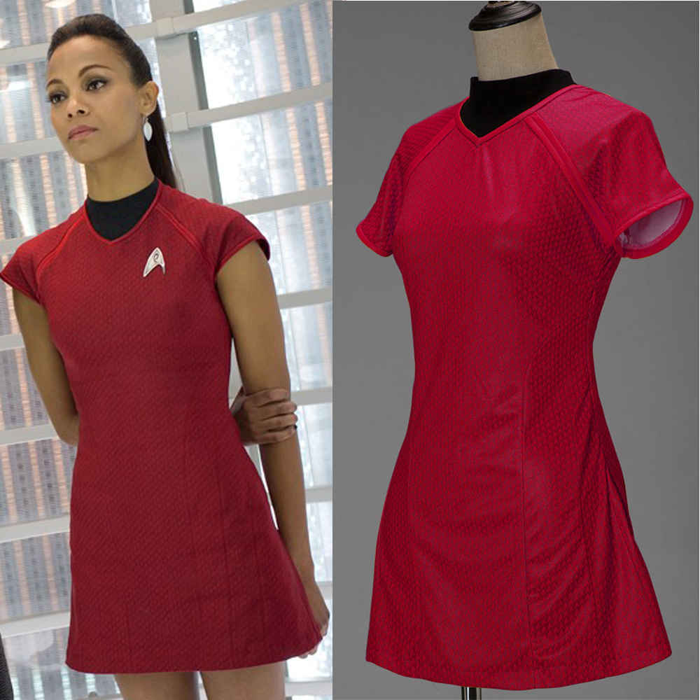 New Star Trek Into Darkness Star Fleet Uhura Dress Cosplay Costume Uniform Red With Badge