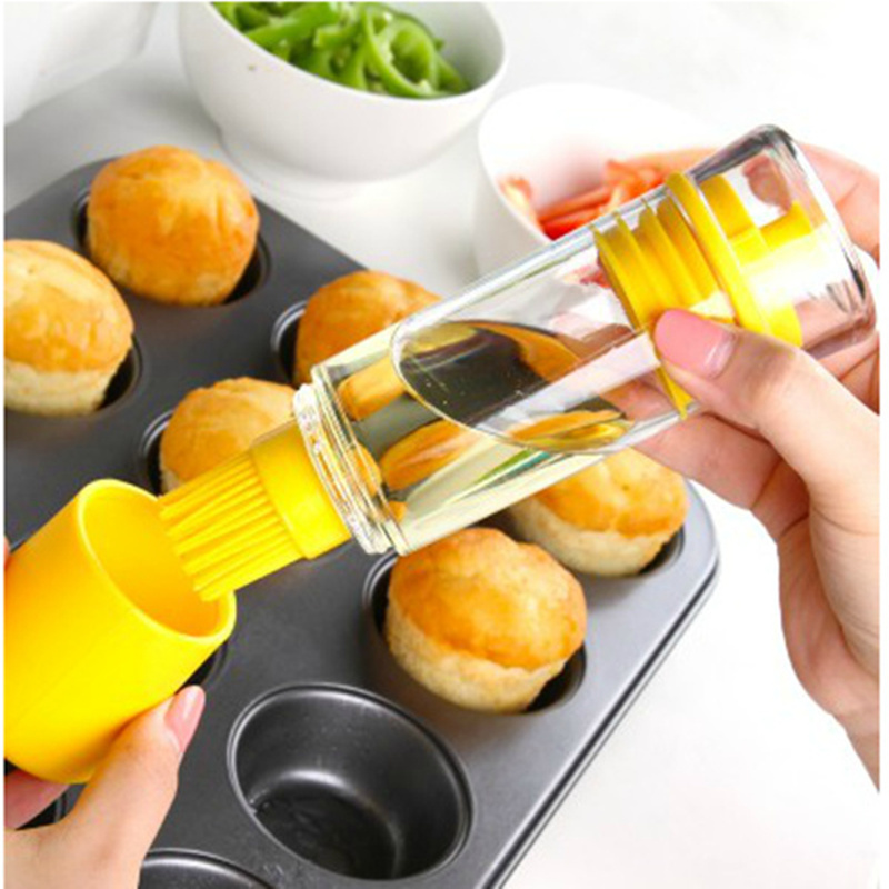 New Silicone Honey Oil Bottle with bbq oil brush for barbecue baking vinegar soy sauce and vinegar cruet kitchen accessories in Basting Brushes from Home Garden