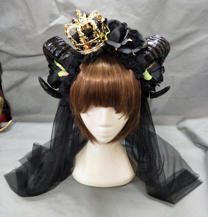 headpiece coroa de cabelo véu lolita chifre