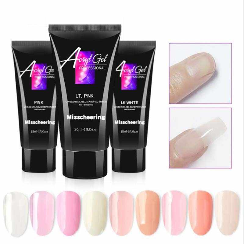 15 ml/30 ml 9 kleuren Acryl gelNail Acryl Poly Gel Crystal UV LED Builder Gel Tips Enhancement Slip oplossing Quick Extension Gel