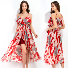 Timmiury Summer Chiffon Beach Dress Slit Floral Long Party Dresses V-neck Strap Sexy 2017 Women Summer Dress Boho Vestidos Mujer