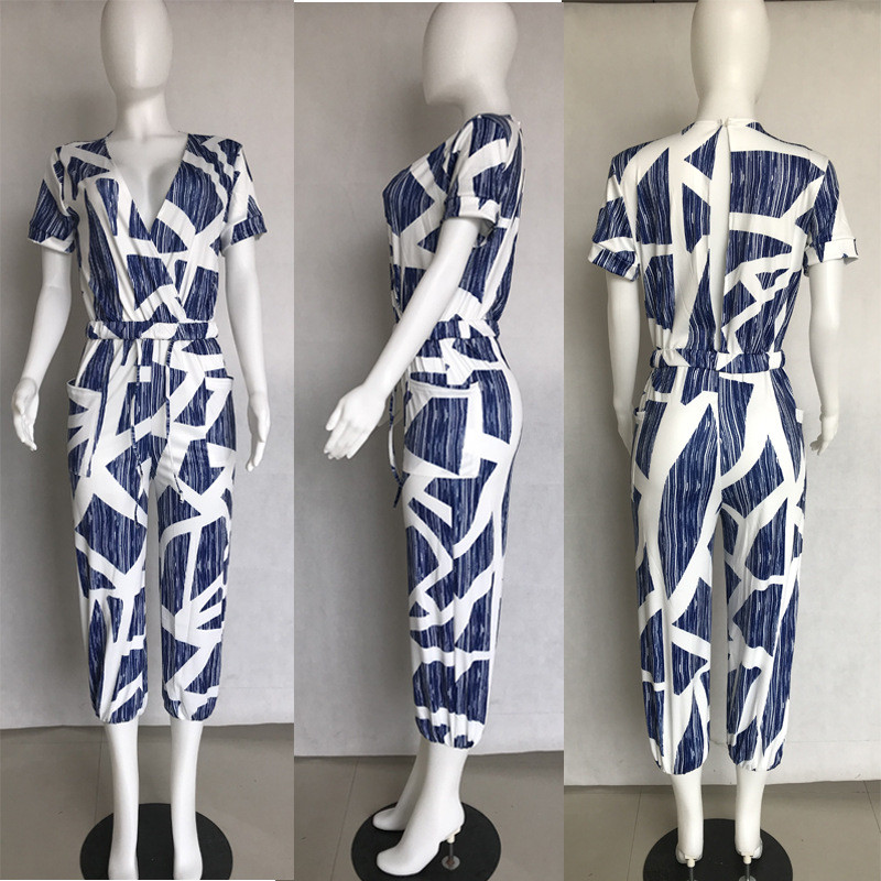 Geometric Print Summer Jumpsuits for Women Short Sleeve V Neck Pockets Cropped Jumpsuit Ladies Bandeau Jumpsuit Casual Rompers