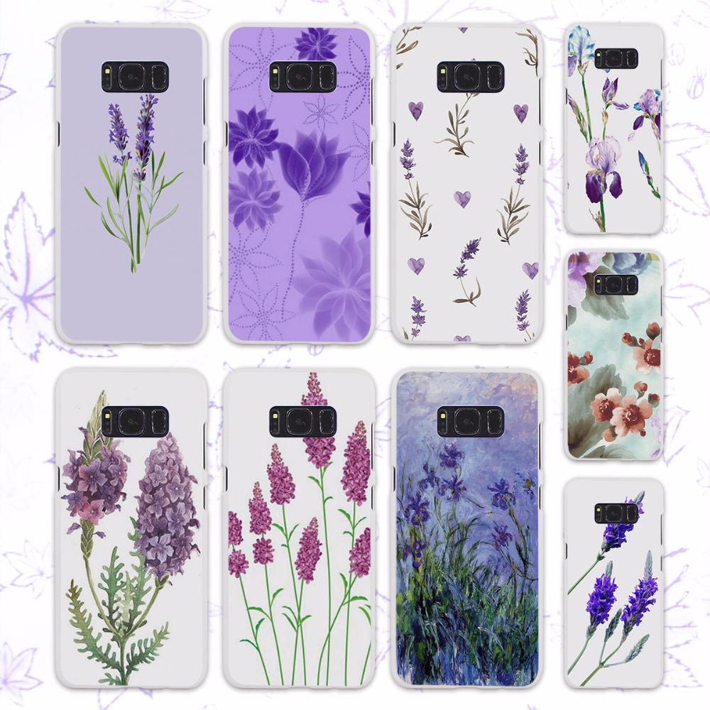 Simple Lavender Purple Flowers Design Hard White Case For Samsung Original Clear Cover Casing Galaxy S8 Plus Ungu S6 S7 Edge S4 S5 Mini Note 5 4 In Half Wrapped From Cellphones