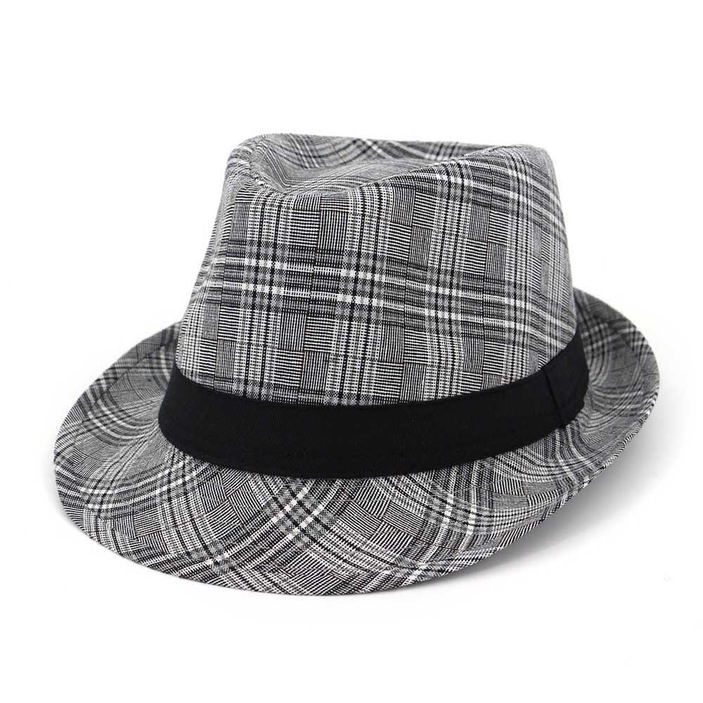 e328bf2379a 2018 Summer Gray Black Fedora Hats For Men Women Striped Vintage ...