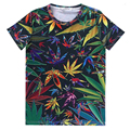 Alisister New Fashion men/women T Shirt Hemp Weed Leaf Floral T Shirt Print Print t-shirts Color Clothing Plus Size