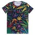 Alisister nueva manera de los hombres/camiseta de las mujeres de cáñamo weed leaf floral t shirt print imprimir camisetas color clothing plus tamaño