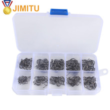 JIMITU 100/200pcs  High Carbon Steel Fishing Hooks Set Single Circle Barbed Fishhook Fly Carp Sea Tackle Acce