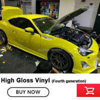 Lemon yellow Glossy Vinyl Film Gloss vinyl Wrap with Air Drain Technology Car Wrapping fourth generation Size: 1.52m X 20m