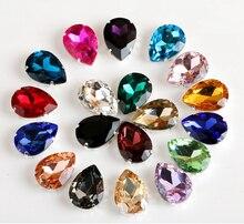 100pieces Multicolor drop shape rhinestone flatback glass buckle loose sew on bags/Christmas Garment decoration-can m