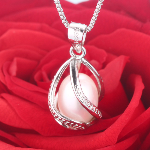 Cauuev genuine Natural freshwater  Pearl Jewelry Hot Selling  Sterling Silver Pendant Necklace gift