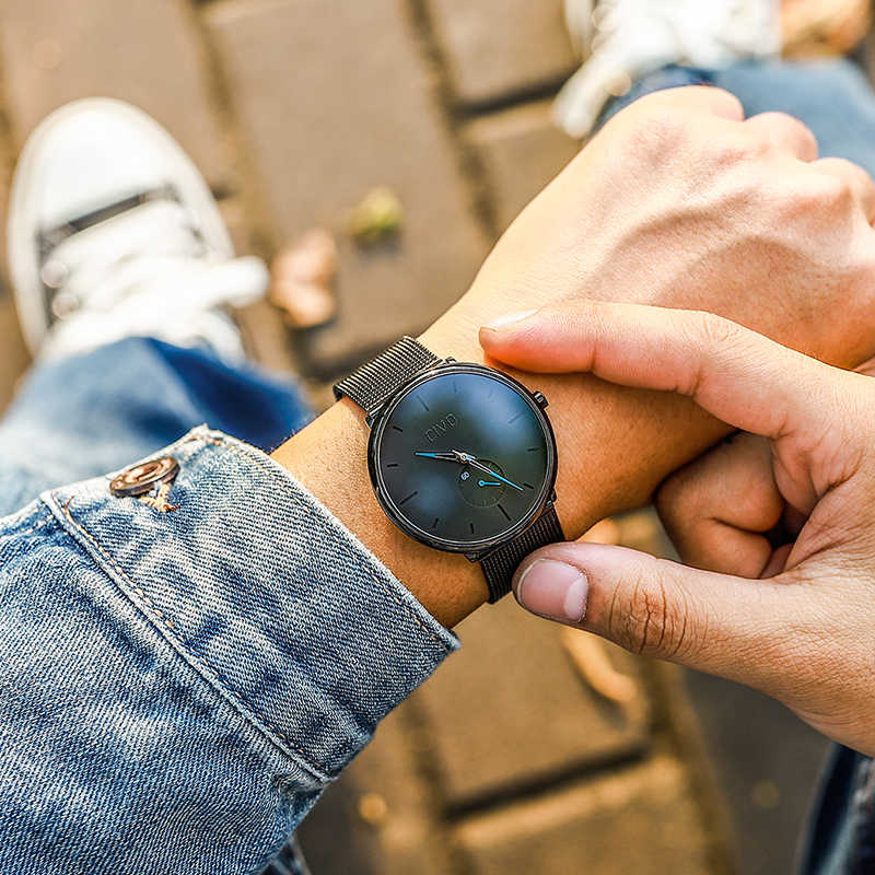 CIVO 2019 新ファッションメンズ腕時計メンズスポーツクォーツ腕時計時計防水ミニマリズム本革ストラップ腕時計時計