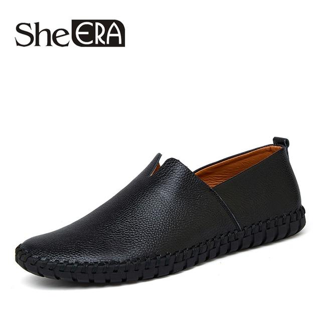 c9645aa5bc 100% Handmade Homens Couro Genuíno Sapatos de Verão Respirável Macio  Mocassins Zapatos Hombre Casuais Mocassim