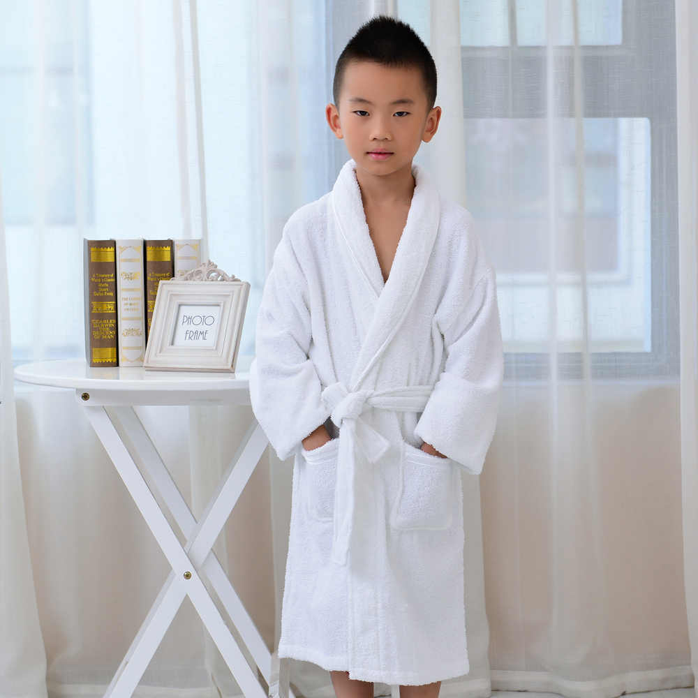 613b46c956 ... Children Bathrobe Towel Kids Boys Girls Cotton Robes Dressing Gown  Homewear Sleepwear ...