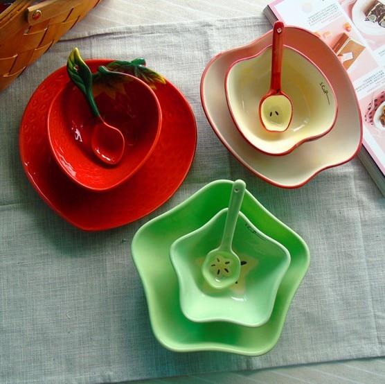 3pcs Hot Sale Creative Fruit shaped Bowl Sets Including Plate&Spoon Ceramic Rice Soup Salad