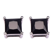 Hitam onyx Wanita Earrings 925 Sterling Silver Gratis Pengiriman Terbaru Anting Fashion Jewelry PE35(China)