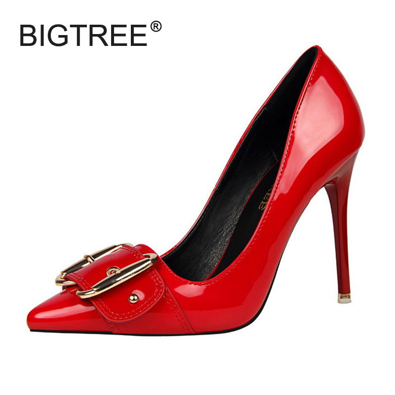 Big Metal Buckle Wedding Shoes Woman Sexy Patent Leather High Heels Elegant Pointed Toe Pumps For Women Silp On Party Heel Shoes fashion patent leather bridal shoes women pumps pointed toe high heels shoes woman rhinestone wedding party women shoes