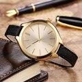 Novo Design de Moda Ouro Relógio De Quartzo Das Mulheres Relógios de Couro do PLUTÔNIO Do Vintage Relógios De Pulso Para Meninas Bom Presente Baterias Incluídas