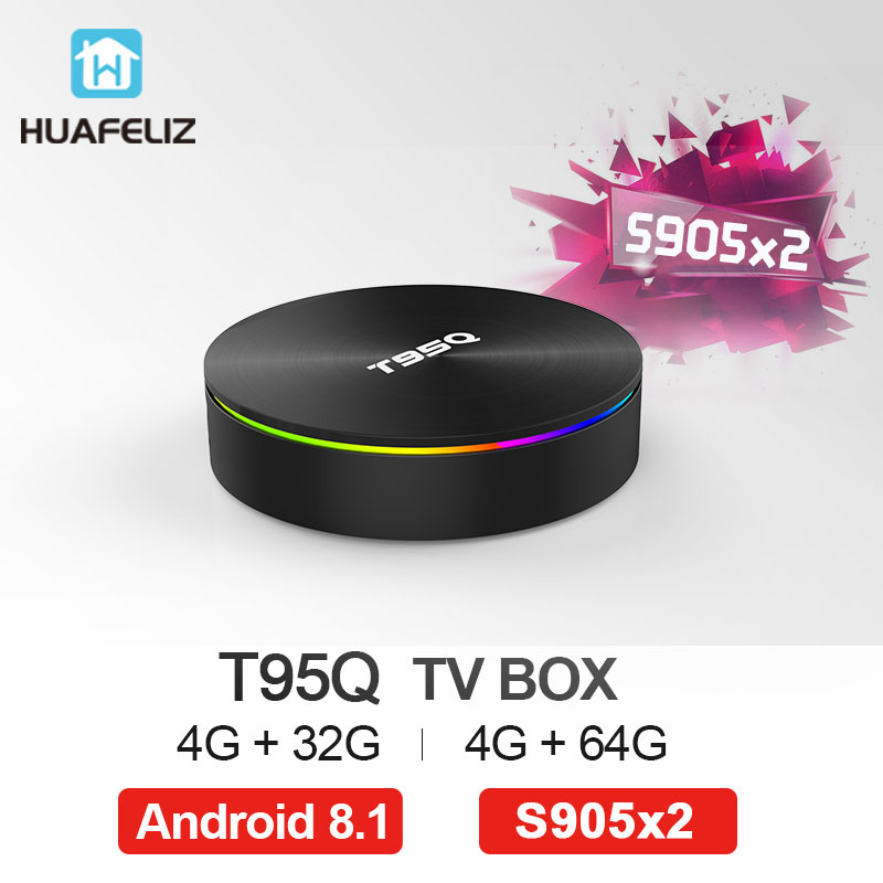 T95Q Android 8,1 Tv Box 4 GB 32 GB Amlogic S905X2 Quad Core 2,4/5,8G Wifi BT4.1 1000 M 4 K reproductor de medios 4GB64GB Android caja de tv inteligente - 2