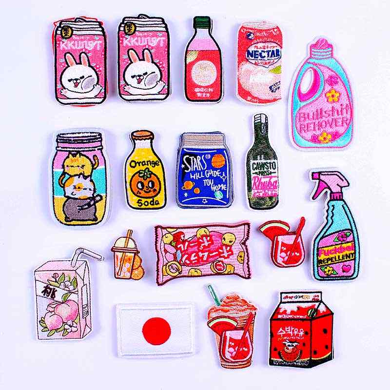 Pulaqi Anime Iron Op Patches Op Kleding Stickers Fles Leuke Borduurwerk Patches Voor Kleding Strepen Op Kleding Kat Dier Patch