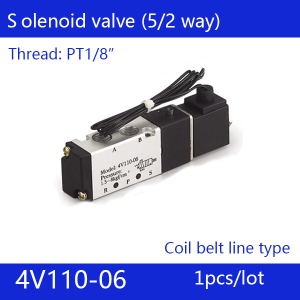 Free Shipping 1/8 2 Position 5 Port Air Solenoid Valves 4V110-06 Pneumatic Control Valve , Coil belt line type,DC24V 12V AC220V free shipping 2pcs in lot 5 port 3 position 3 8 inner guide 4v330c 10 double head air solenoid valve voltage optional