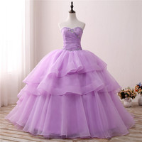 Light Purple Ball Gown Prom Dresses Pleated Quinceanera dresses Tiered Sweetheart Prom Dresses 2019 sweet 15 Ruffles vestidos