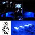 4 em 1 12 V 4 W Auto Interior Lâmpada Pé Azul Fonte DIODO EMISSOR de Luz Conjunto de Carga Brilho Interior Decorativa Atmosfera Carro Styling YA347 +