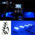 4 in 1 12V 4W Auto Inside Foot Lamp Blue Source LED Light Atmosphere Styling Car Charge Set Glow Interior Decorative YA347+