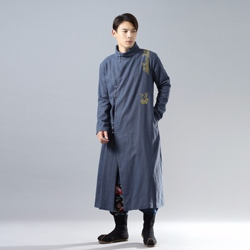 Traditional chinese clothing for men male overcoat outerwear oriental winter trench coat men trenchcoat clothes 2018 AA4391
