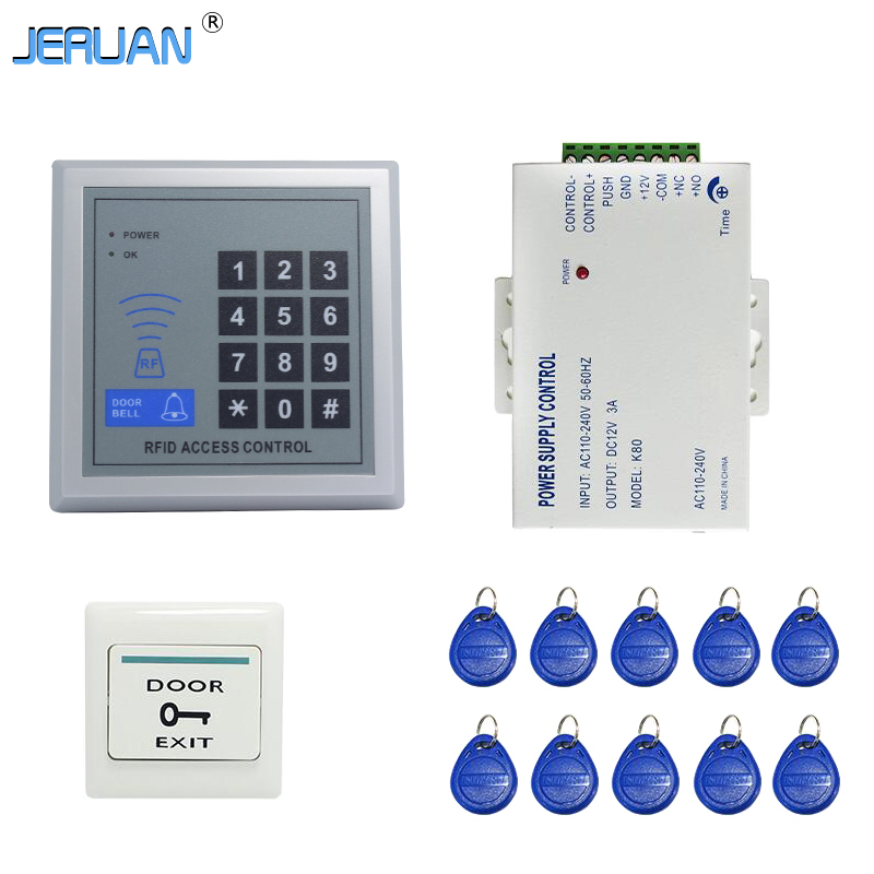 ФОТО JERUAN Easy Install NEW Rfid Door Access Control System + Power Supply Controller + Rfid Keypad + Exit Button FREE SHIIPPING