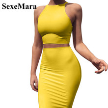 c9548d1cd68c ANJAMANOR Crop Top and Skirt Two Pieces Dress Set Yellow Club Summer Outfit Sexy  Clothes for
