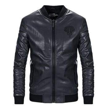 New Brand men's leather jacket coat classic leather motorcycle Fashion animal design leather jacket Male leisure clothing