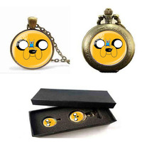 ADVENTURE TIME Logo Pendants Necklaces Fashion Vintage Silver Plated Chain Choker Statement Necklace Pocket Watch With