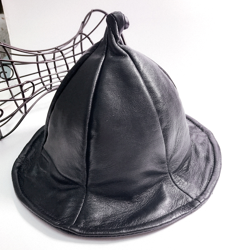 witch hat 2018 new Classic Women Men Caps Vintage Army Genuine Leather Hat Cadet Military Patrol