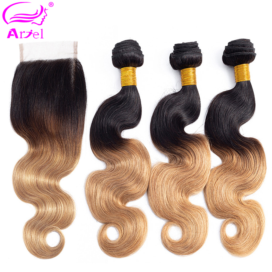 ARIEL Pre-Colored Ombre Brazilian Hair 3 Bundles With Closure 1B/27 Body Wave Remy Hair Weave Human Hair Bundles With Closure