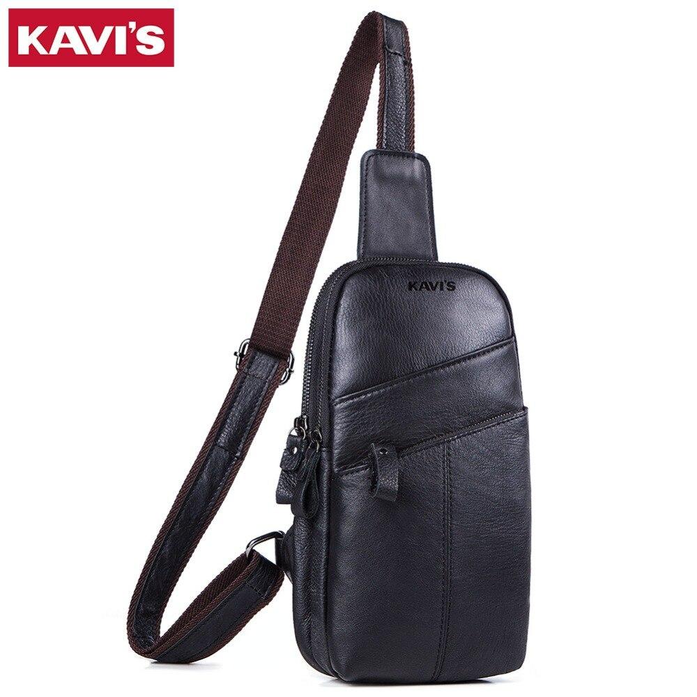 100% Wahr Kavis Kuh Qualität Echtem Leder Brust Tasche Männer Handtasche Schulter Kupplung Männlich Taschen Bolsas Messenger Shopper Tas Schwarz