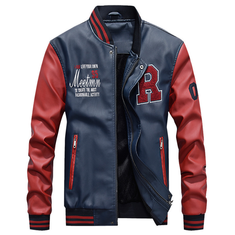 Bomber Men s Leather Baseball Uniform Jacket Outdoor Camping Climbing Sports Training PU Coat Male Spring