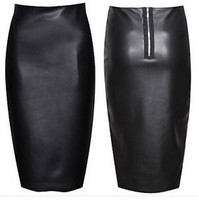 PU Faux Leather Women New 2014 Elastic High Waist Office Party Wear Vintage Bodycon Pencil Skirt