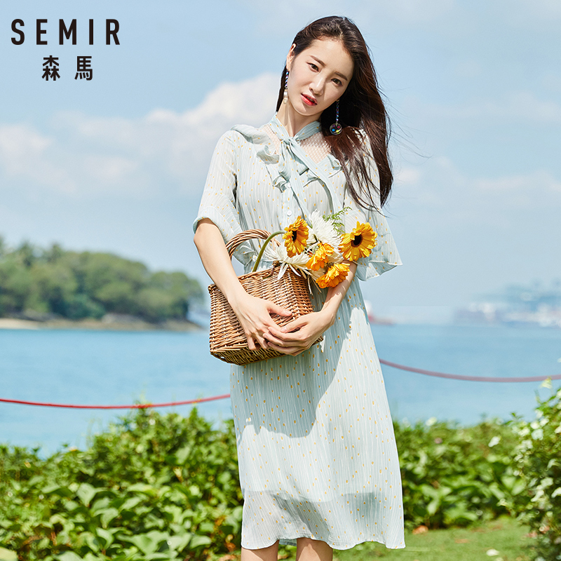 Semir Female Dress 2018 Summer New Chiffon Romantic Sweet Fresh Bow Beach Women Dresses Lace Stitching Sweet Strap Clothes Lady 3
