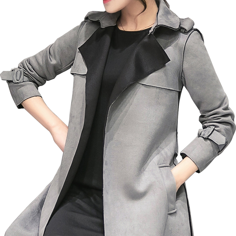 Outerwear Trench-Coat Suede Female Slim Long Women Fashion Ladies Casual New Grey B232