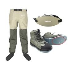 Wadersตกปลารองเท้าเล็บFelt Sole & เอวกางเกงเข็มขัดเสื้อผ้ากันน้ำชุดล่าสัตว์Wadingต้นน้ำรองเท้าน้ำรั่ว