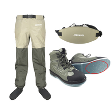 Waders Fly Fishing Shoes Nails Felt Sole & Waist Pants Belt Clothes Waterproof Hunting Suit Wading Upstream Boots Leaking Water