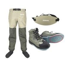 Waders sinek balıkçılık ayakkabı çivi keçe taban ve bel pantolon kemer giyim su geçirmez avcılık takım elbise sığ yukarı botları su sızıntısı